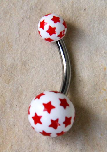 Bauchnabel Piercing Stern weiss/rot