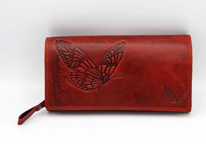 Geldbeutel Langbörse Schmetterling rot