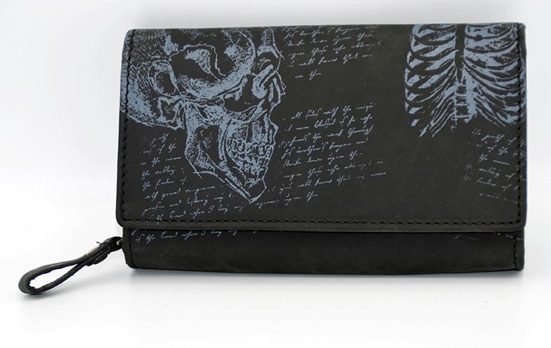 Edle Geldbörse Totenkopf Skull  schwarz