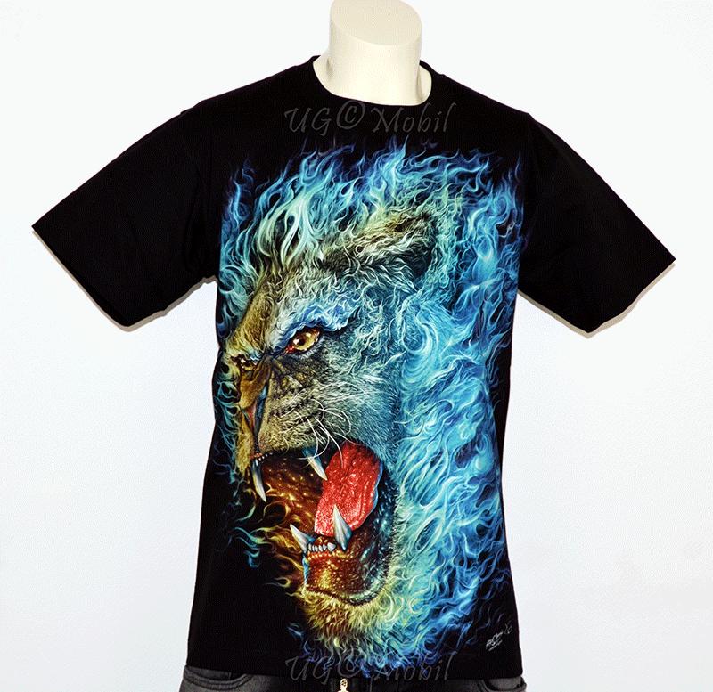 T-Shirt - Feuer- Löwe blau