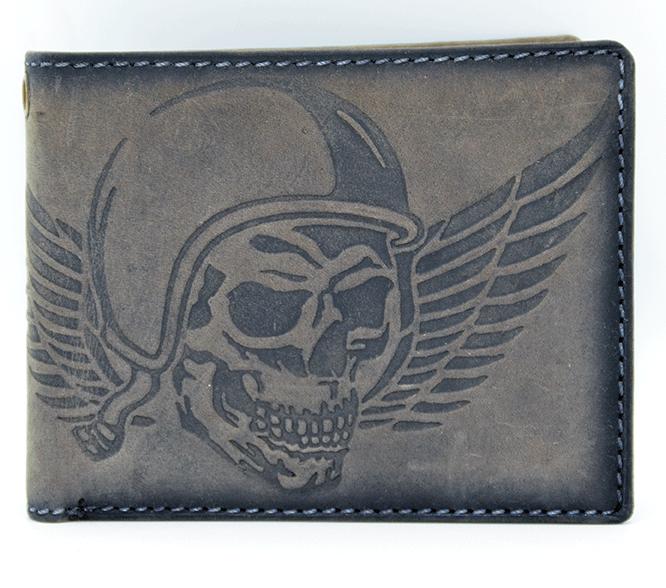 Geldbeutel Totenkopf Skull Wing of Hell grau