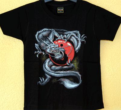 Kids  -  T-Shirt   Drache  Ying Yang